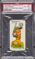 "Baseball Cards:Singles (Pre-1930), 1928 Major Drapkin ""Game of Sporting Snap"" Baseball #21 PSA VG-EX+ 4.5...."