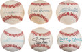 Baseball Collectibles:Balls, 1980's 500 Home Run Hitters Single Signed Baseballs Lot of 6 WithMickey Mantle. ...