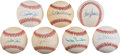 Autographs:Baseballs, Circa 1980 Hall of Famers Single Signed Baseballs Lot of 7....