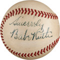 Autographs:Baseballs, Late 1940's Babe Ruth Signed Baseball....