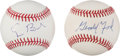 Autographs:Baseballs, 1990's U.S. Presidents Single Signed Baseballs, Book Lot of 3....