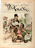 Miscellaneous:Newspaper, [Newspapers]. Front Page from Puck, 1890. Keppler &Schwarzmann, 1890. Uneven left edge. Near fine. . ...
