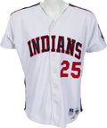 Autographs:Baseballs, 1993 Jim Thome Game Worn Cleveland Indians Jersey With Team Stamp. ...