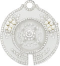 Estate Jewelry:Brooches - Pins, Diamond, Frosted Glass, Seed Pearl, White Gold Brooch. ...