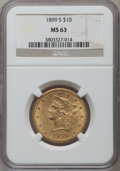 Liberty Eagles: , 1899-S $10 MS63 NGC. NGC Census: (67/13). PCGS Population (62/17).Mintage: 841,000. Numismedia Wsl. Price for problem free...
