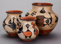 American Indian Art:Pottery, THREE SANTO DOMINGO POLYCHROME JARS. c. 1945... (Total: 3 )