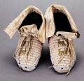 American Indian Art:Beadwork and Quillwork, A PAIR OF SIOUX QUILLED AND BEADED HIDE MOCCASINS...