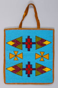 American Indian Art:Beadwork and Quillwork, A PLATEAU BEADED HIDE FLAT BAG...