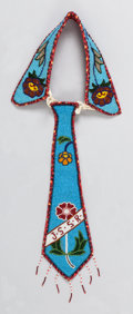 American Indian Art:Beadwork and Quillwork, A PLATEAU BEADED HIDE NECK TIE...