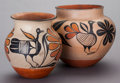 American Indian Art:Pottery, TWO SANTO DOMINGO POLYCHROME JARS. c. 1945... (Total: 2 )