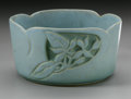 Ceramics & Porcelain, AN AMERICAN ART POTTERY BOWL. Roseville Pottery, designed c.1952. The turquoise bowl in the 'Silhouette' pattern depicting...