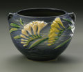 Ceramics & Porcelain, American:Modern  (1900 1949)  , AN AMERICAN ART POTTERY BOWL. Roseville Pottery, designed c.1945.The double-handled bowl in the 'Freesia' pattern, depict...