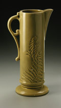Ceramics & Porcelain, American:Modern  (1900 1949)  , AN AMERICAN POTTERY VASE. Roseville, designed c.1947. Of 'Mayfair'pattern, the cylindrical form with applied scrolled han...