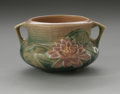 Ceramics & Porcelain, American:Modern  (1900 1949)  , AN AMERICAN ART POTTERY BOWL. Roseville Pottery, designed 1943. Thedouble-handled bowl in the 'Water Lily' pattern depict...