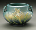 Ceramics & Porcelain, American:Modern  (1900 1949)  , AN AMERICAN ART POTTERY BOWL. Roseville Pottery, designed 1939. Thedouble-handled bowl in the 'Lily' pattern, depicting w...