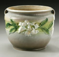 Ceramics & Porcelain, American:Modern  (1900 1949)  , AN AMERICAN ART POTTERY BOWL. Roseville Pottery, designed late1940s. The cylindrical form bowl in the 'Gardenia' pattern, d...
