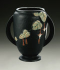 Ceramics & Porcelain, American:Modern  (1900 1949)  , AN AMERICAN ART POTTERY VASE. Roseville, designed 1938. Of 'Fuchsia' pattern, the tall vase with applied handles with fuch...