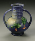 Ceramics & Porcelain, American:Modern  (1900 1949)  , AN AMERICAN POTTERY VASE. Roseville, designed 1938. Of 'Fuchsia'pattern, the round body with cylindrical ringed neck with...