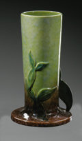 Ceramics & Porcelain, American:Modern  (1900 1949)  , AN AMERICAN POTTERY VASE. Roseville, designed 1948. Of 'Wincraft'pattern, the cylindrical form on circular foot, molded w...