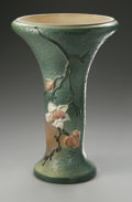Ceramics & Porcelain, American:Modern  (1900 1949)  , AN AMERICAN POTTERY PEDESTAL. Roseville, designed 1943-1944. Of'Magnolia' pattern, the trumpet shaped body with molded cr...