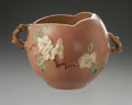 Ceramics & Porcelain, American:Modern  (1900 1949)  , AN AMERICAN POTTERY VASE. Roseville, designed 1948. Of 'AppleBlossom' pattern, the spherical body with gnarled branch han...