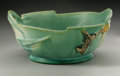 Ceramics & Porcelain, American:Modern  (1900 1949)  , AN AMERICAN POTTERY BOWL. Roseville, designed 1917, producedc.1930s. In 'Pinecone' pattern, the shaped rim with reticulat...