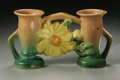 Ceramics & Porcelain, American:Modern  (1900 1949)  , AN AMERICAN POTTERY VASE. Roseville, designed 1942. In 'Peony'pattern, the double bud vase centered by a peony bloom in y...