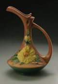 Ceramics & Porcelain, American:Modern  (1900 1949)  , AN AMERICAN POTTERY EWER. Roseville, 1930s. Of baluster form withslender neck and exaggerated ted spout, with applied han...