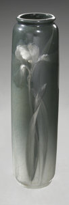 Ceramics & Porcelain, American:Modern  (1900 1949)  , AN AMERICAN POTTERY VASE. Roseville, Rozan Royal, designed c.1905.Tall baluster form decorated with an iris in white on t...