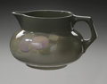 Ceramics & Porcelain, American:Modern  (1900 1949)  , AN AMERICAN ART POTTERY PITCHER. Roseville, c.1905. Of 'RozanneRoyal. Royal Lights' pattern, of squat bulbous body with h...