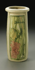 Ceramics & Porcelain, American:Modern  (1900 1949)  , AN AMERICAN POTTERY VASE. Weller, design c.1919. Of 'Roma' pattern,the squared cylindrical form modeled with three panels...