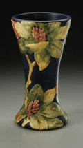 Ceramics & Porcelain, American:Modern  (1900 1949)  , AN AMERICAN POTTERY VASE. Weller, c.1920-1928. Of 'Flemish Ware'pattern, the waisted form molded with Rhododendrons in gr...