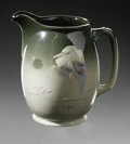 Ceramics & Porcelain, American:Modern  (1900 1949), AN AMERICAN POTTERY PITCHER. Owens, early 20th century. The widebody with attached handle and raised spout with under hig...