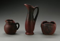 Ceramics & Porcelain, American:Modern  (1900 1949)  , THREE PIECES OF AMERICAN POTTERY. Van Briggle, 20th century.Comprising a small vase molded with butterflies, a squat crea...(Total: 3 Items)