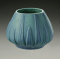 Ceramics & Porcelain, American:Modern  (1900 1949)  , AN AMERICAN POTTERY VASE. Van Briggle, 20th century. Of 'YuccaLeaf' pattern, the tapering bowl shape with molded decorati...