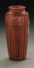 Ceramics & Porcelain, American:Modern  (1900 1949)  , AN AMERICAN POTTERY VASE. Rookwood, 1920. Baluster form molded with'Rooks' in relief around the shoulder, in a matte pink...