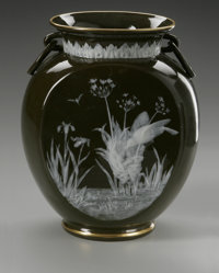 A PATE-SUR-PATE PORCELAIN VASE Maker unknown, c.1890  The cushion foot supporting a flattened ovoid form with a cylindri...