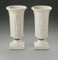 Ceramics & Porcelain, American:Modern  (1900 1949)  , A PAIR OF URN LAMPS. Lenox, Mid 20th Century. Pair of white porcelain table urn lamps on standard base with flared rim and...