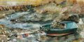 American:Regional, Attributed to MILLARD OWEN SHEETS (American 1907-1989). FishingBoat. Watercolor on paper. 9.25in.x 18.5in.. Signed lowe...