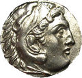 Ancients:Greek, Ancients: Macedonian Kingdom. Alexander III. 336-323 B.C. AR drachm(16 mm). Lampsakos, 310-301 B.C. Head of Herakles right, wearingl...