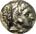 Ancients:Greek, Ancients: Macedonian Kingdom. Alexander III. 336-323 B.C. AR drachm(16 mm). 'Kolophon', ca. 323-ca. 319 B.C. Head of Herakles right,...