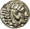 Ancients:Greek, Ancients: Macedonian Kingdom. Alexander III. 336-323 B.C. AR drachm(16 mm). Miletos, ca. 325-323 B.C. Head of Herakles right,wearing...