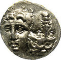 Ancients:Greek, Ancients: Moesia, Istros. Ca. 4th century B.C. AR stater (16 mm).Two male heads facing, the left inverted / Sea-eagle left, grasping...