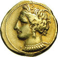 Ancients:Greek, Ancients: Zeugitania, Carthage. Ca. 290-270 B.C. EL stater (18 mm,7.51 g). Wreathed head of Tanit left, wearing triple-pendantearrin...