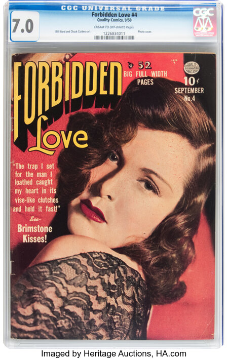 Forbidden Love #4 (Quality, 1950) CGC FN/VF 7.0 Cream to off-white pages....