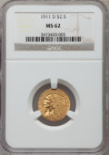 Indian Quarter Eagles: , 1911-D $2 1/2 MS62 NGC. NGC Census: (1013/959). PCGS Population (446/671). Mintage: 55,600. Numismedia Wsl. Price for probl...