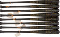 Baseball Collectibles:Bats, 1959 Chicago White Sox & Los Angeles Dodgers World Series Black Bat Collection of 8 From Charles Comiskey Jr. Collection. ...