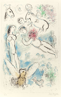 MARC CHAGALL (French/Russian, 1887-1985) L'Envolée magique, 1980 Lithograph in colors 37-3/8 x 23