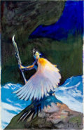 "Original Comic Art:Miscellaneous, Frank Frazetta ""Winged Warrior"" Preliminary Painting Original Art(undated)...."