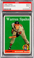 Baseball Cards:Singles (1950-1959), 1958 Topps Warren Spahn #270 PSA Mint 9 - Pop Six. ...